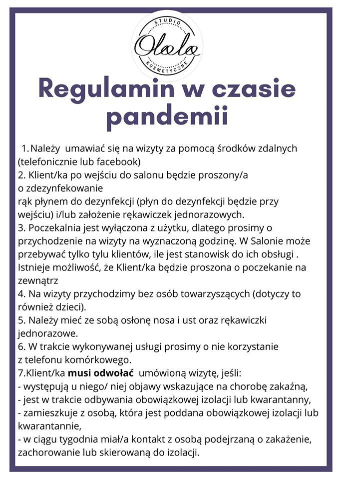 Regulamin w czasie pandemii